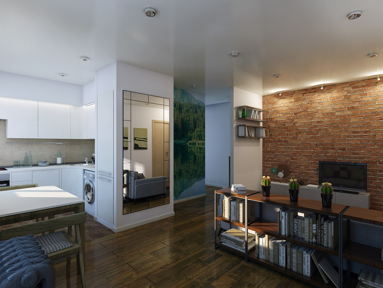 Квартира-студия в стиле лофт 43квм
